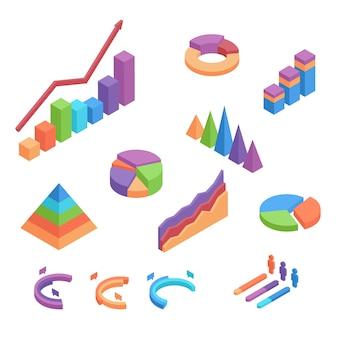 Set di grafici isometrici. elementi infographic piani 3d per progettazione della relazione di attività isolati su fondo bianco.