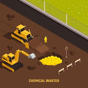 Illustrazione isometrica dei rifiuti chimici