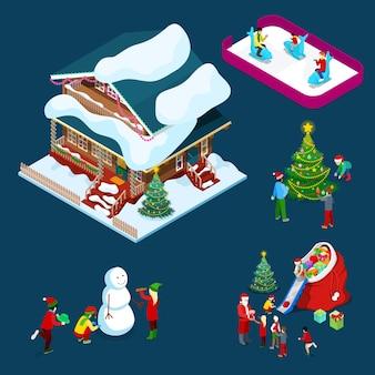 Isometrica casa decorata di natale con albero di natale, babbo natale, bambini e pupazzo di neve. illustrazione