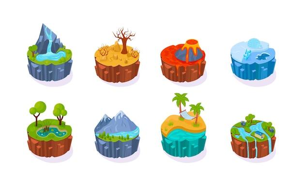 Insieme isometrico dell'icona del cerchio 3d del paesaggio. scenario naturale polare, nord, deserto, vulcano, spiaggia tropicale, stagno della foresta, cascata di montagna. isola arrotondata di terra di ecologia. ambiente di viaggio fumetto vettoriale
