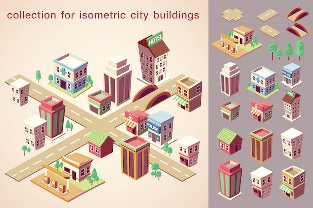 Collezione di edifici di città isometrica