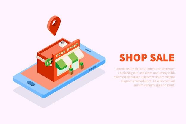 Illustrazione isometrica degli edifici della città con l'immagine concettuale della casa del negozio di alimentari sulla parte superiore dello schermo dello smartphone