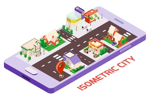 Composizione isometrica della mappa dello smartphone degli edifici della città con l'immagine del gadget e del blocco con il segno di posizione
