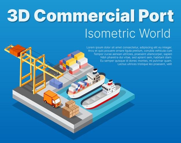 Porto industriale della città isometrica con navi da carico per l'industria del carico di container e navi da trasporto