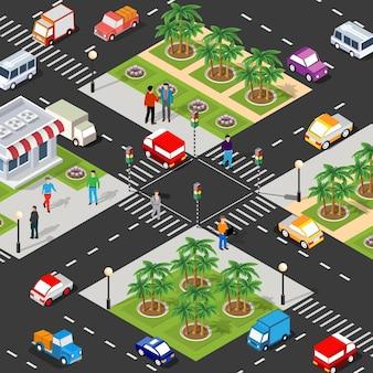 Quartiere isometrico della città con case, strade, persone, automobili.