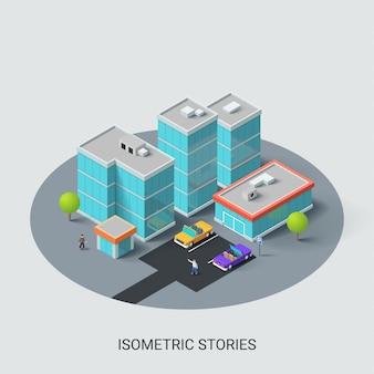 Città isometrica con edificio