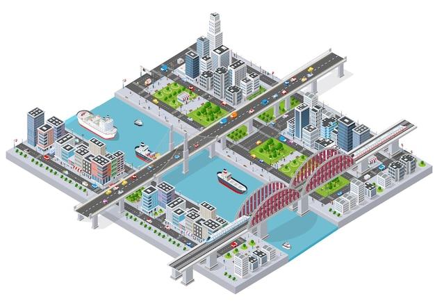 Città isometrica con argine del fiume con persone che camminano ponti, strade di trasporto e navi