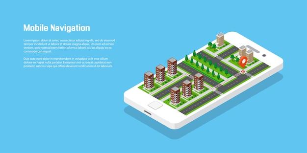 Città isometrica con strade ed edifici su smart phone. mappa sull'applicazione mobile. illustrazione vettoriale 3d. concetto di navigazione mobile.