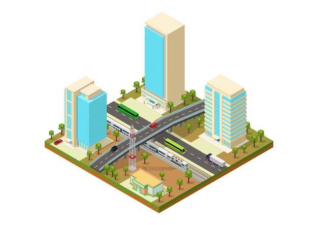 Città isometrica con grattacielo, autostrada e treno