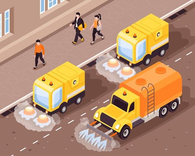 Illustrazione di strada di pulizia isometrica