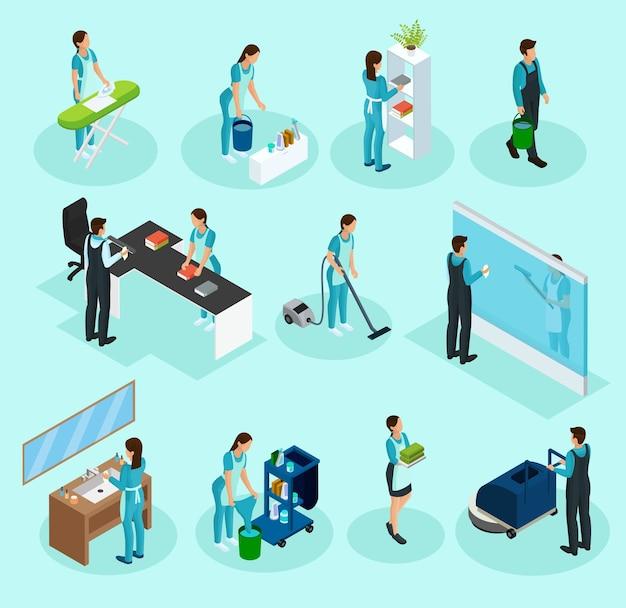 Set di servizi di pulizia isometrica