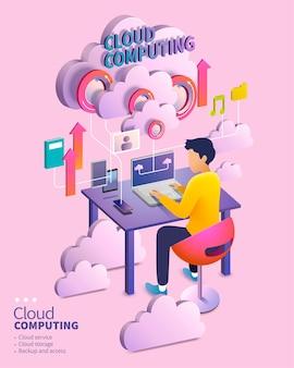 Concetto di cloud computing isometrico, uomo che utilizza il proprio dispositivo caricando i dati attraverso i barattoli