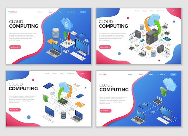 Modelli di pagina di destinazione della tecnologia di cloud computing isometrica