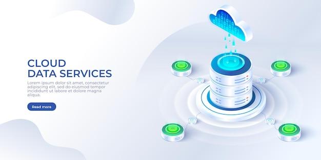 Servizi di dati cloud isometrici