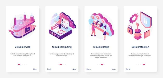 Ux di protezione dei dati del servizio cloud isometrico, set di schermate della pagina dell'app mobile di onboarding dell'interfaccia utente