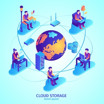 Illustrazione isometrica del servizio cloud