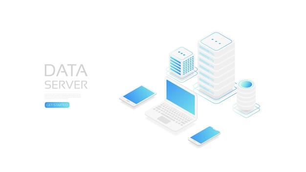 Servizio cloud isometrico, trasferimento dati online al dispositivo gadget