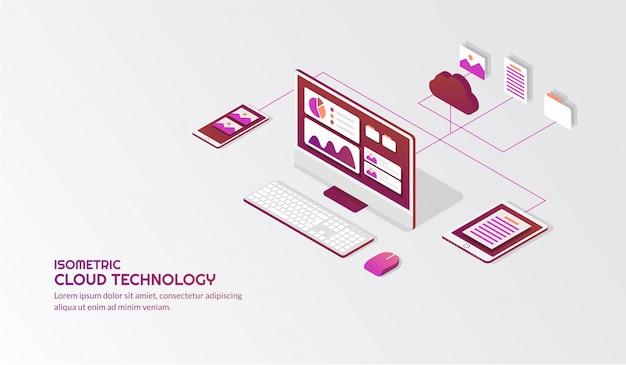 Tecnologia di archiviazione cloud isometrica