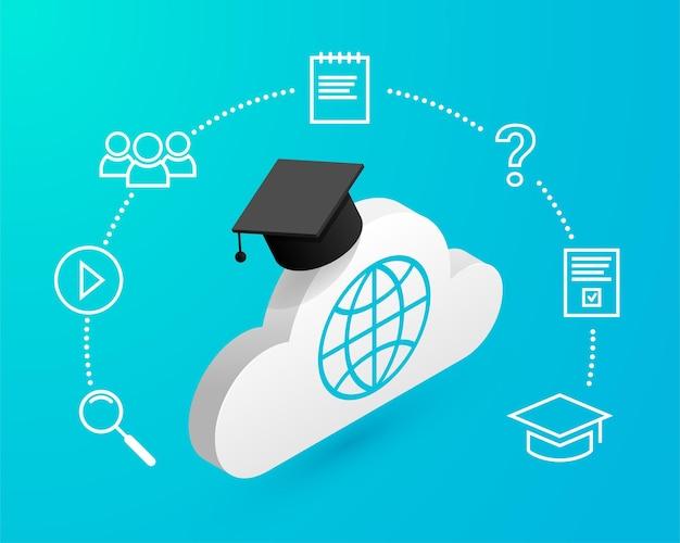 Nuvola isometrica con cappello di laurea e icone di studio a distanza intorno su sfondo blu.concetto di design di formazione online. illustrazione di e-learning