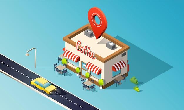 Caffetteria isometrica con auto taxi per traffico stradale e perno di posizione