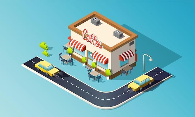 Caffetteria isometrica con strada, traffico, taxi.
