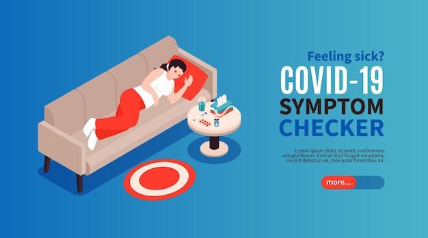 Pagina di destinazione dei sintomi del coronavirus dell'influenza fredda isometrica