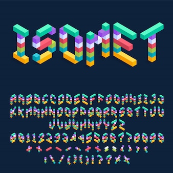 Progettazione variopinta isometrica della fonte dei cubi, lettere tridimensionali di alfabeto ed illustrazione di numeri