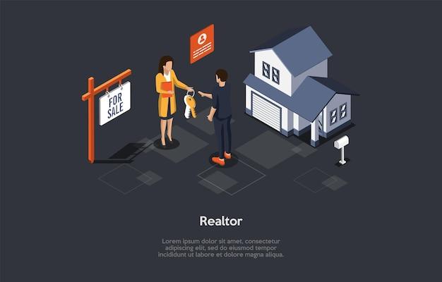 Composizione isometrica su sfondo scuro. illustrazione 3d di vettore nello stile del fumetto. professione agente immobiliare, vendendo il concetto di casa. impresa immobiliare, contratto di mutuo. edificio e personaggi suburbani