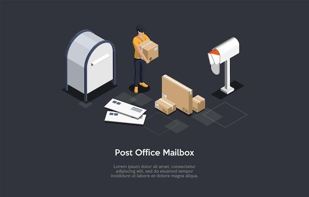 Composizione isometrica, disegno vettoriale. illustrazione di stile del fumetto 3d con la scrittura sul concetto della cassetta postale dell'ufficio postale. servizio di pubblicazione. dipendente femminile in uniforme con scatola di cartone, buste, lettere.
