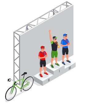 Composizione isometrica con vista sul palco con i vincitori sul podio vicino alla bicicletta da strada