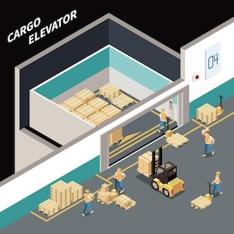 Composizione isometrica con i lavoratori che caricano il carico nella grande illustrazione 3d dell'ascensore