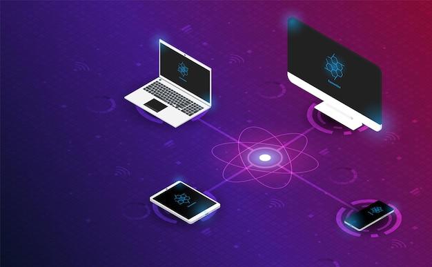 Computer isometrico smartphone tablet e laptop sul vettore di sfondo della griglia di sistema e illustrazione