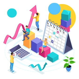 Concetto isometrico di pianificazione aziendale e sviluppo della strategia, giovani imprenditori