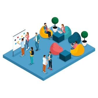 Concetto isometrico del centro di coworking