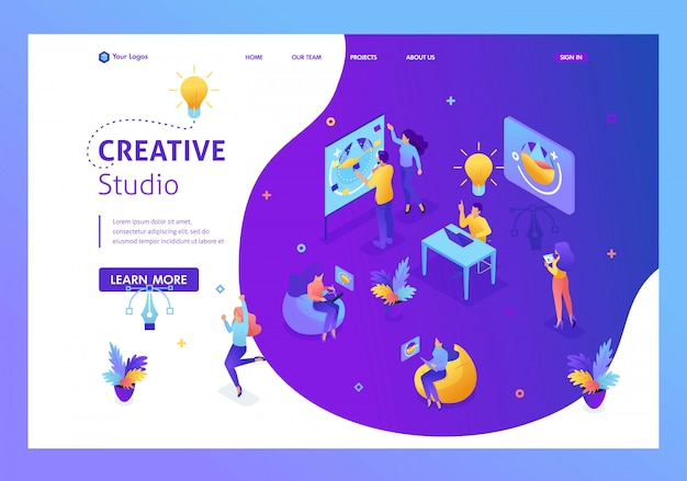 Studio creativo concetto isometrico, creazione di idee, i dipendenti sviluppano il. lavoro di squadra di persone creative. pagina di destinazione del modello di sito web