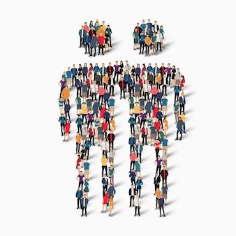 Illustrazione di concetto isometrico di persone affollate