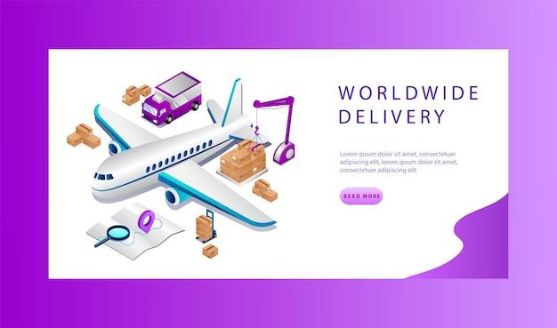 Concetto isometrico di logistica e servizio di consegna in tutto il mondo