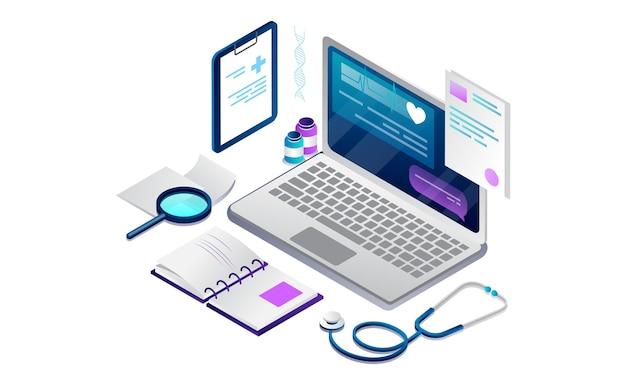 Concetto isometrico di assistenza sanitaria online e consultazione medica