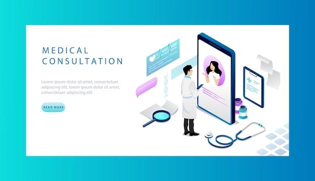 Concetto isometrico di consultazione medica in linea