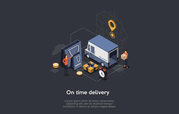Concetto isometrico di illustrazione di consegna in tempo. Vettore Premium