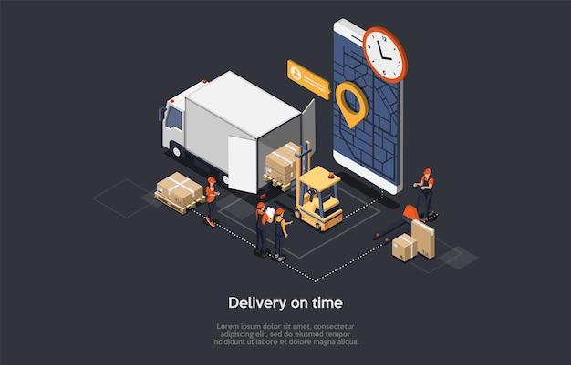 Concetto isometrico di consegna puntuale Vettore Premium