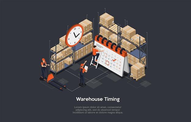 Concetto isometrico di temporizzazione del magazzino. illustrazione.