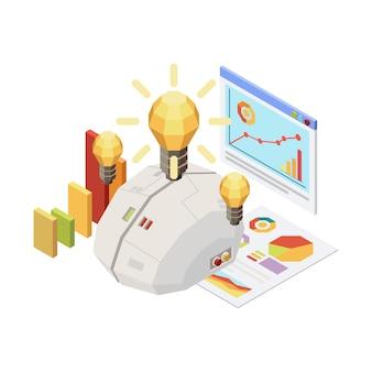 Concetto isometrico con lampadine cerebrali digitali e grafici 3d