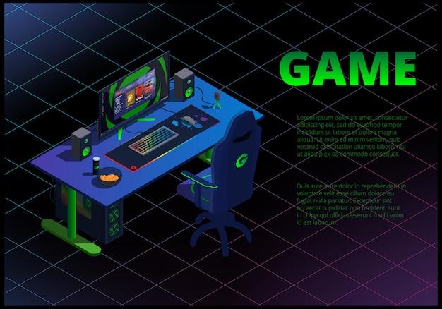 Concetto isometrico con computer da gioco e attrezzature cybersport.