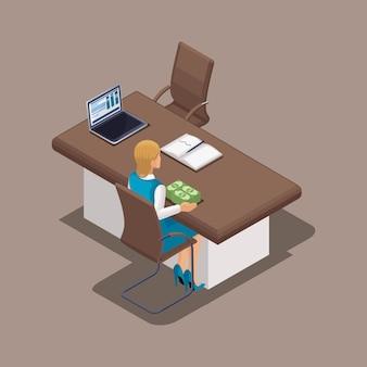 Concetto isometrico del lavoro di un direttore di banca durante l'emissione di un prestito. struttura bancaria in funzione