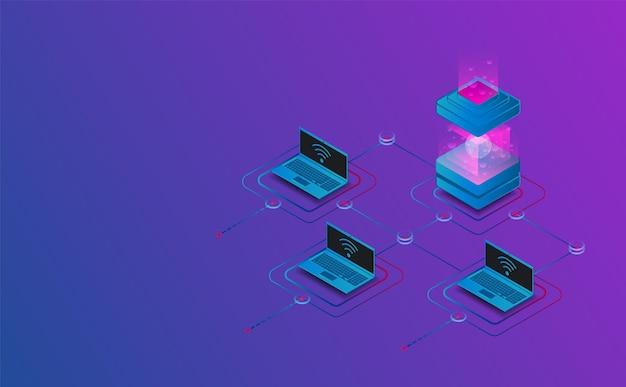 Collegamento isometrico all'illustrazione futuristica di concetto della catena a blocchi