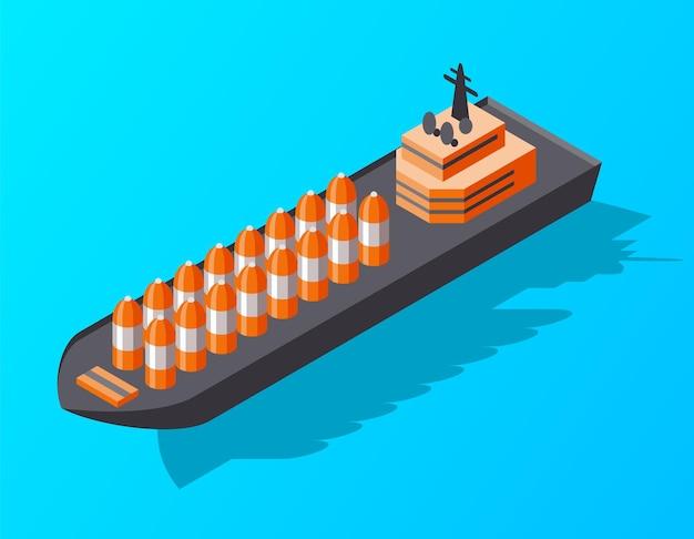 Nave da carico container isometrica. consegna in acqua. trasporto di merci di spedizione. icona isometrica di vettore o elemento infografico. trasporto marittimo.
