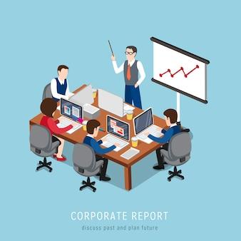 Isometrica del concetto di report aziendale