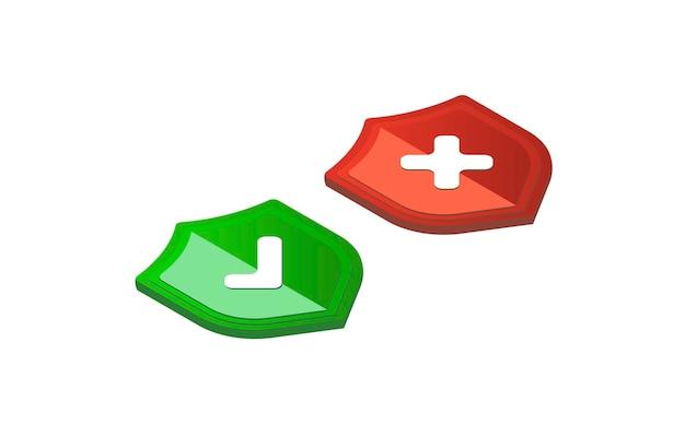 Segno isometrico corretto corretto sullo schermo del telefono set di icone segno isometrico giusto e sbagliato