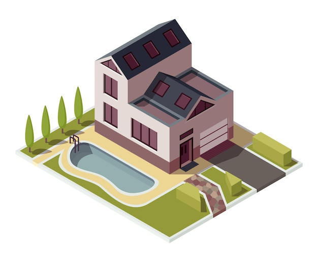 Cottage isometrico. costruzione di immobili privati. casa con area, elementi del design del paesaggio e piscina